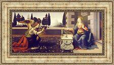 "Leonardo da Vinci Annunciation Framed Canvas Giclee Print 27""x15"" (V03-13)"