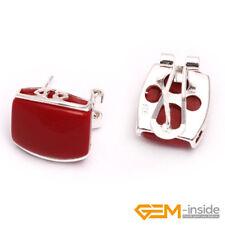 12x14mm Rectangle Gemstone White Tibetan Silver Stud Earrings Jewelry Yao-Bye