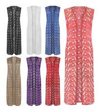 Ladies Sleeveless Floral Lace Open Maxi Dress Womens Fancy Kimono Long Cardigan