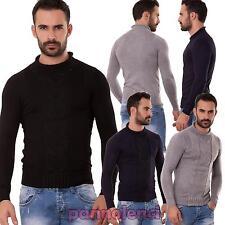 Pullover uomo maglione girocollo maglia maniche lunghe lana nuovo AK-23