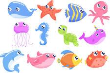 FUN CUTE SEA CREATURES STICKERS CHILD KIDS VINYL DECAL BATH WALL LAPTOP WINDOW