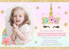 Unicorn Invitation, Unicorn Birthday, Invitation, Photo, Floral, Gold, Pink