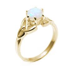 Celtic Trinity Knot Ring 1ct Unicorn Tear Opal 9ct Gold (ss216)