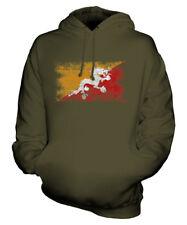 BHUTAN DISTRESSED FLAG UNISEX HOODIE TOP DRUK YUL FOOTBALL BHUTANESE GIFT