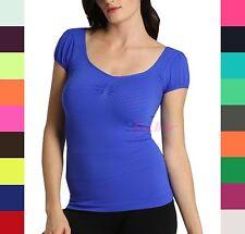 Women Soft Scoopneck Short Sleeve T-Shirt Top Tee Dress Round V Neck Shirt