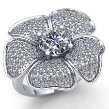 1.50carat Round Cut Diamond Ladies Cluster Flower Engagement Ring 18K Gold