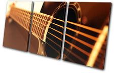 Guitar INSTRUMENTS Acoustic Brown Musical TREBLE DOEK WALL ART foto afdrukken