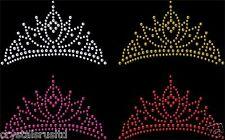 Iron-On Tiara Crown Rhinestone Diamante Transfer Hotfix Crystal Motif Applique