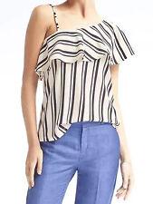 NWT Banana Republic New $39.50 Women Stripe Crepe One-Shoulder Top Size Large,XL