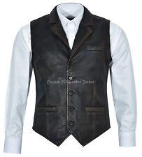 Men's Vintage Black Rub Off Distressed Stylish Vest 100 % Real Leather Waistcoat