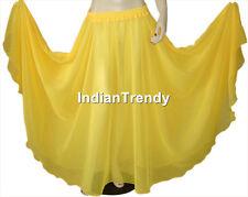 Yellow - Chiffon Skirt Belly Dance Boho Gypsy Ethnic Dress 9 Yard Flamenco Jupe