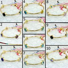 Fashion Natural Gemstone 24k Gold Plated Bracelets Bangle Bracelet Women Jewelry