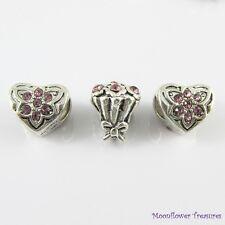 Heart & Flower Bouquet Bead Set fit European Charm Bracelet Select Colour