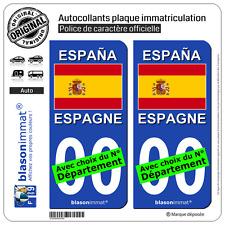 2 Stickers autocollant plaque immatriculation Auto : Espagne - Drapeau