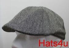BLACK & WHITE  FLAT CAP Mens Lightweight Pre Formed Hat XL L M S