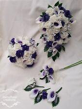 Purple Ivory Rose Calla Lilly Bouquet Wedding Bride Bridesmaid Flowergirl Groom