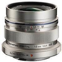 Olympus M.ZUIKO DIGITAL ED 12mm F2 Lens For Four Thirds (Silver)