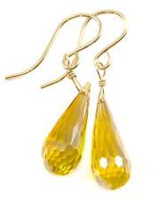 14k Gold Cubic Zirconia Earrings Canary Yellow CZ Drops Sterling Long Facet Drop