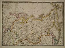 1830 Genuine Antique hand colored map of Russia in Asia. A.H. Brue
