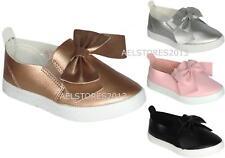 Girls Bow Pump Sneaker Flat Ribbon Party Skater Shoes Kids Sizes EUR 25-36