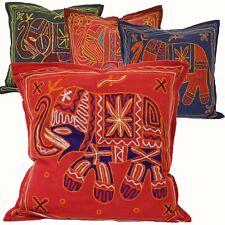 Funda de Cojín Cojín 40x40cm Bordado Elefante Algodón India Rojo Azul Negro