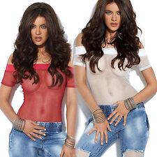By Alina Damenbody Netztop Damentop Netzbody Longshirt Top Oberteil Pink XS-M