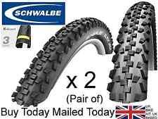 A Pair (2 Schwalbe Black Jack Mountain Bike Tyres 26 x 2.1 Wide MTB AntiPuncture