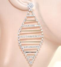 ORECCHINI ARGENTO donna STRASS cristalli pendenti SPOSA cerimonia eleganti E60
