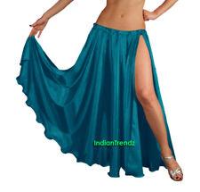 Teal - Satin 2 Slit Full Skirt Belly Dance Gypsy Tribal 9 Yard Panel Jupe