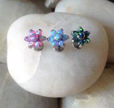 ASTM F136 Titanium Opal Flower Labret Helix Conch Lip Monroe Cartilage Tragus