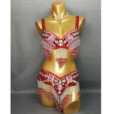 New Womens Belly Dance hip scarf Costumes Bra&Belt Set sexy dancing wear RED