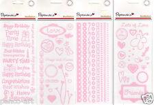 PAPERMANIA motifation double face stickers autocollant fabrication carte artisanat rose