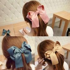 Women Fashion Satin Ribbon Bowknot Hair Clips Barrette Ponytail Holder Rapture