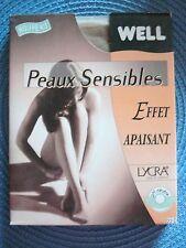 """LOT 2 Collants """"Peaux sensibles"""" de WELL Lycra Fin 22 den. Beige doré Taille 1"""