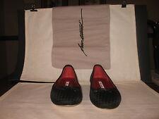 Brian Atwood Black Woven Ballerina Flats