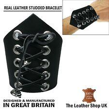 UK NUOVA ELEGANTE A V OCCHIELLI BORCHIE 100% in Pelle Bracciale Made in UK