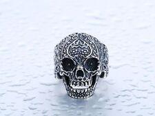 Mens Jewelry Sugar Skull Silver Steel Ring Goth Biker Ring Skull Gothic Band