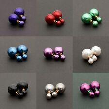 Perlen Ohrstecker Ohrringe Ohrschmuck Doppel-Perlen Stil doppelperlen Goldfarben