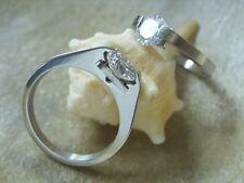 Edelstahl Swarovski Fingerring mit 1 weißen 7 mm Stein Ring SIZE 17- 21 mm