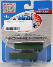 N Scale Fruehauf 32' Covered Wagon Trailers - Factory Green - Mini Metals #51132