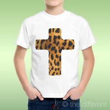 T-Shirt Bambino Ragazzo Croce Leopardata  Idea Regalo