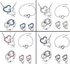 4 piezas Conjunto de Cristal Austriaco Joyería KP02 Anillo Pulsera Collar Aretes