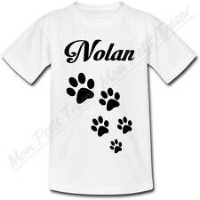 T-shirt Enfant Empreintes de Chien avec Prénom Personnalisé