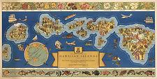 Vintage Pictorial Dole Map of the Hawaiian Islands U.S.A. Hawaii Wall Art Poster