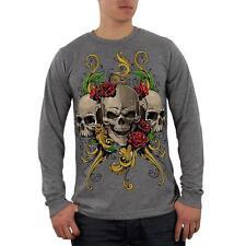 Skulls and Roses Tattoo Mens Soft Long Sleeve Blend T Shirt
