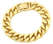 "18K Gold Plated Solid Gold High Polished Miami Cuban Link 8.5"" Bracelet BDB002"