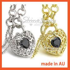 24K GOLD GF HEART PADLOCK BLACK AGATE CRYSTAL BELCHER RING CHAIN BANGLE BRACELET