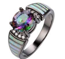 Ring f. Damen Schwarz Fingerring mit MYSTIC Regenbogen TOPAS CZ Kristallen(10)