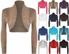 Womens Ladies Beaded Long Sleeve Collared Short Bolero Crop Shrug Cardigan Top