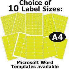 Jaune Fluo Laser Copieur Inkjet Étiquettes 5 A4 Feuilles Stickers Autocollants
